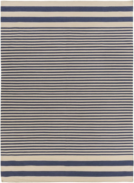 Oxford Contemporary Navy Beige Cotton Area Rug (L 132 X W 96) OXF3003-811