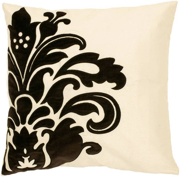Elegant Cream Black Fabric Down Fill Square Pillow Kit (L 18 X W 18) P0171-1818D
