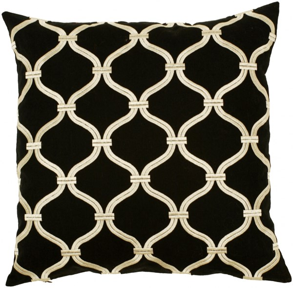 Trellis Black Beige Down Cotton Linen Throw Pillow - 18x18x4 P0176-1818D