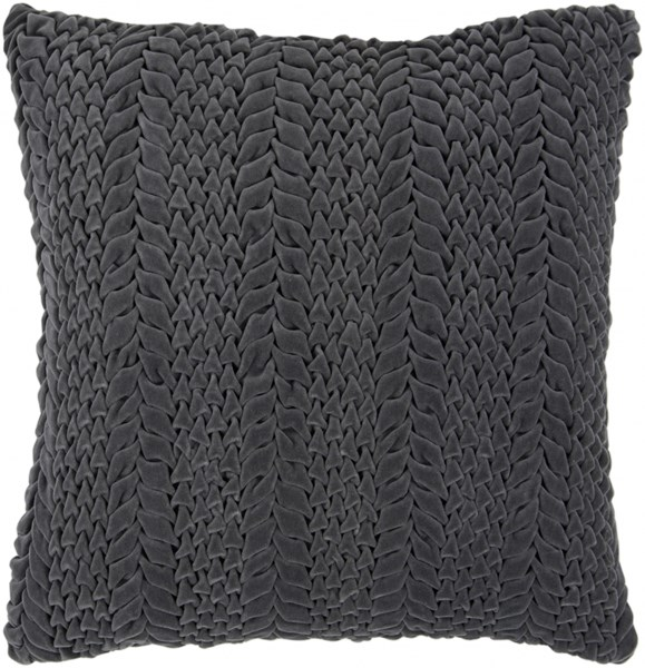 Velvet Luxe Charcoal Poly Cotton Throw Pillow - 22x22x5 P0276-2222P