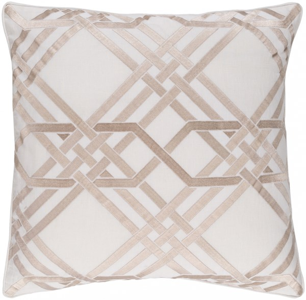 Pagoda Ivory Gold Down Linen Cotton Throw Pillow - 20x20x5 PAG001-2020D