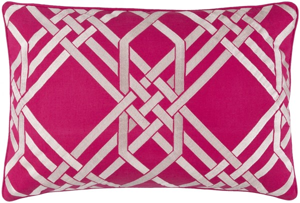 Pagoda Hot Pink Ivory Poly Linen Cotton Throw Pillow - 22x22x5 PAG002-2222P
