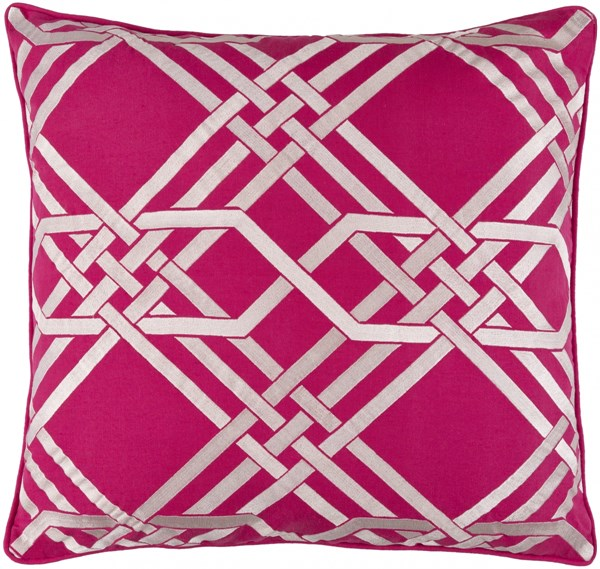 Pagoda Hot Pink Ivory Poly Linen Cotton Throw Pillow - 20x20x5 PAG002-2020P