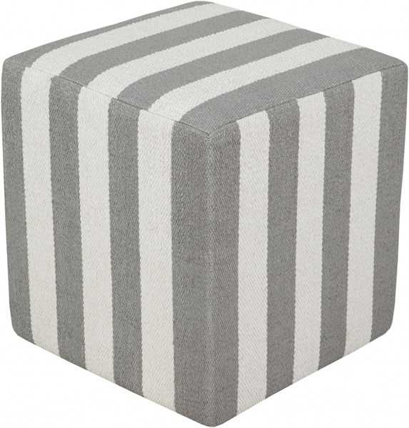 Picnic Contemporary Light Gray Ivory PVC Pouf - 16x16x18 PCPF-010
