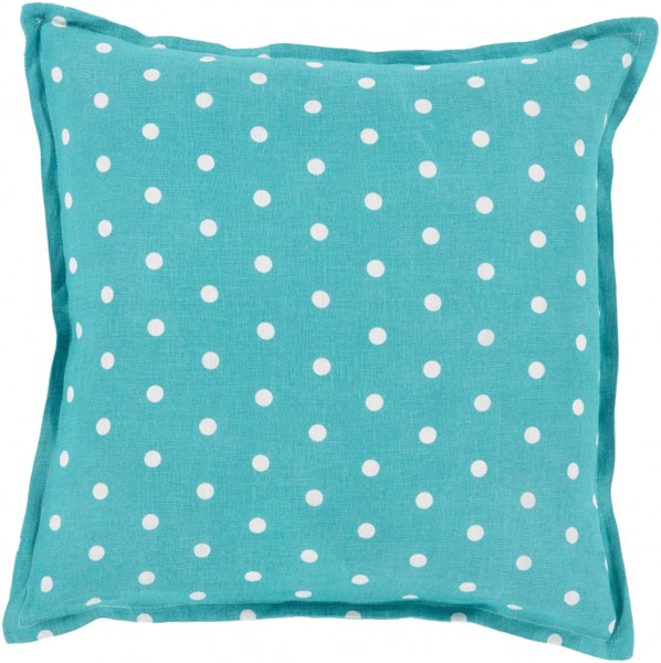 Polka Dot Teal Ivory Down Linen Throw Pillow - 18x18x4 PD001-1818D