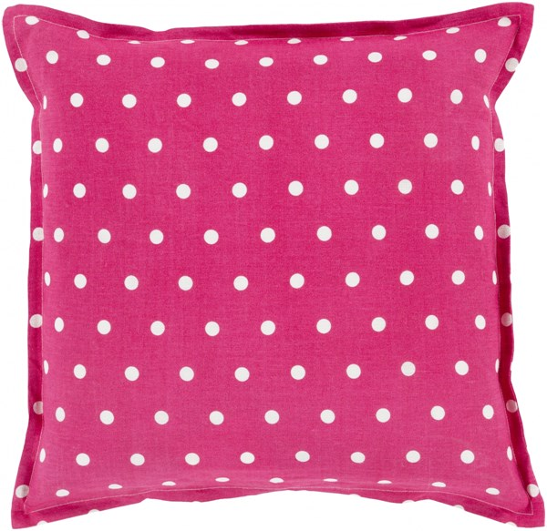 Polka Dot Magenta Ivory Down Linen Throw Pillow - 22x22x5 PD004-2222D