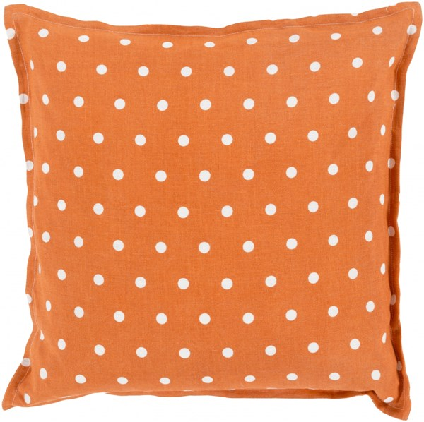 Polka Dot Burnt Orange Ivory Down Linen Throw Pillow - 22x22x5 PD005-2222D