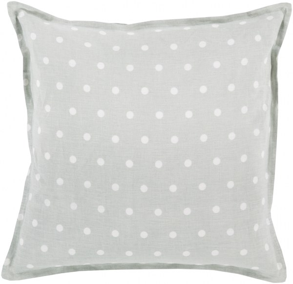 Polka Dot Slate Ivory Poly Linen Throw Pillow - 18x18x4 PD007-1818P