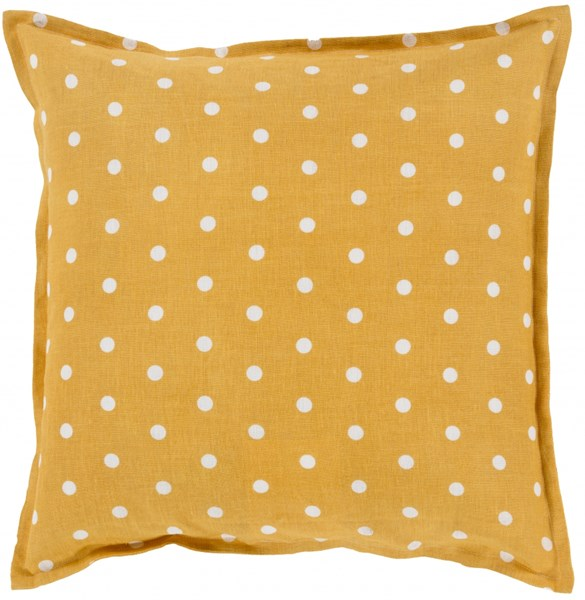 Polka Dot Gold Ivory Poly Linen Throw Pillow - 18x18x4 PD008-1818P