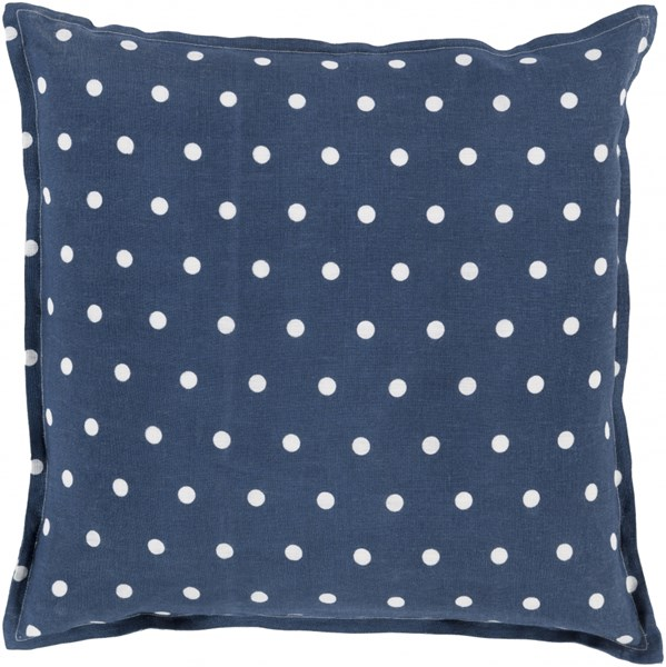 Polka Dot Navy Ivory Down Linen Throw Pillow - 18x18x4 PD009-1818D
