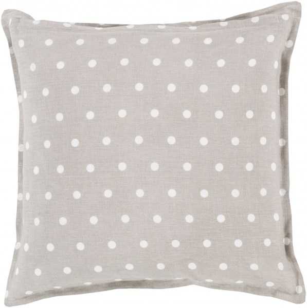 Polka Dot Light Gray Ivory Down Linen Throw Pillow - 18x18x4 PD010-1818D
