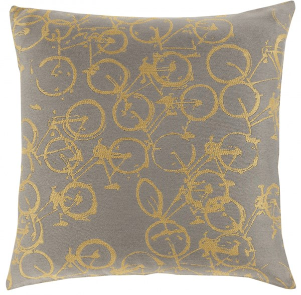 Pedal Power Gold Charcoal Down Polyester Throw Pillow - 22x22x5 PDP002-2222D