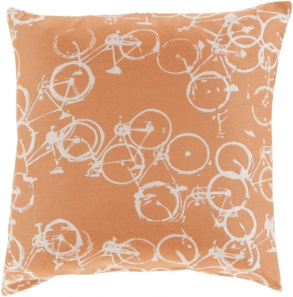 Pedal Power Rust Ivory Down Polyester Throw Pillow - 22x22x5 PDP003-2222D