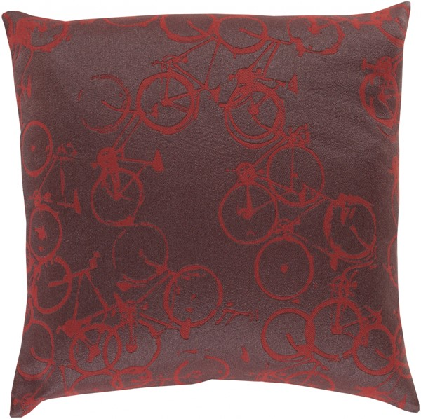 Pedal Power Burgundy Charcoal Poly Polyester Throw Pillow - 20x20x5 PDP006-2020P
