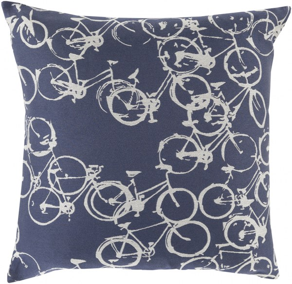 Pedal Power Navy Light Gray Poly Polyester Throw Pillow - 22x22x5 PDP007-2222P