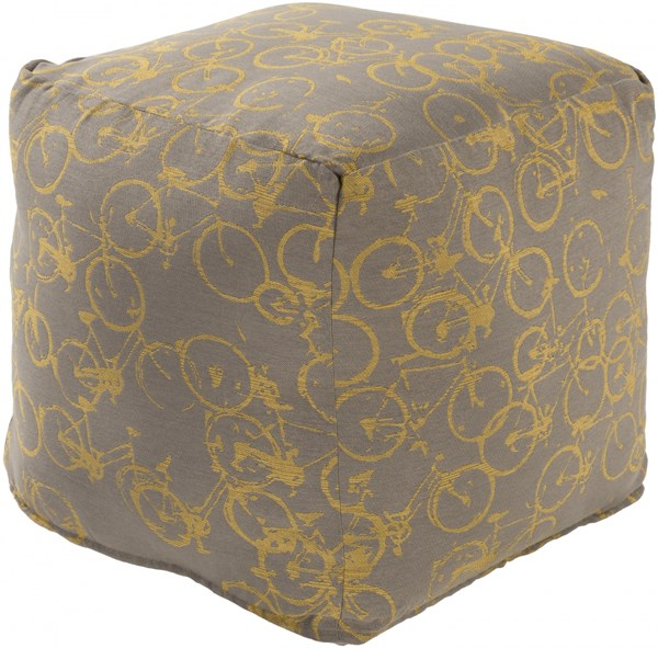 Peddle Power Charcoal Gold Polyester Pouf - 18x18x18 PDPF002-181818
