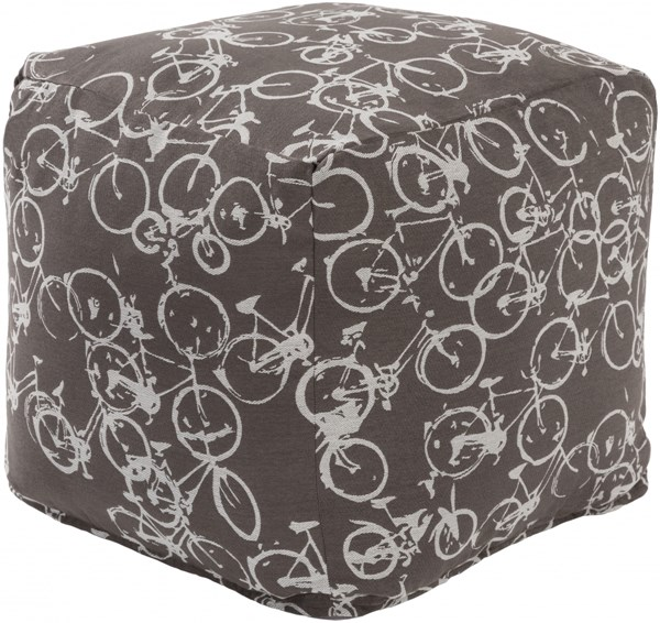Peddle Power Ivory Light Gray Polyester Pouf - 18x18x18 PDPF005-181818