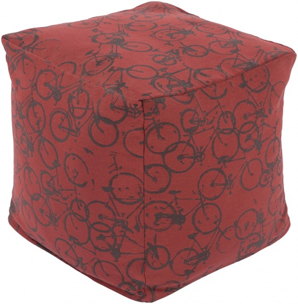 Peddle Power Burgundy Charcoal Polyester Pouf - 18x18x18 PDPF006-181818