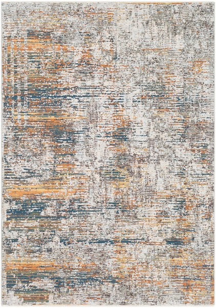 Surya Presidential Bright Blue Burnt Orange White Polyester Area Rug - 157x108 PDT2305-9131