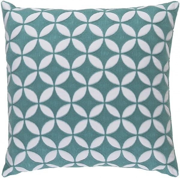Perimeter Aqua Ivory Down Cotton Throw Pillow - 20x20x5 PER006-2020D