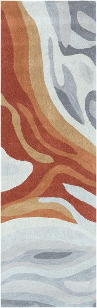 Pigments Gray Moss Orange Polyester Viscose Runner - 30 x 96 PGM3004-268