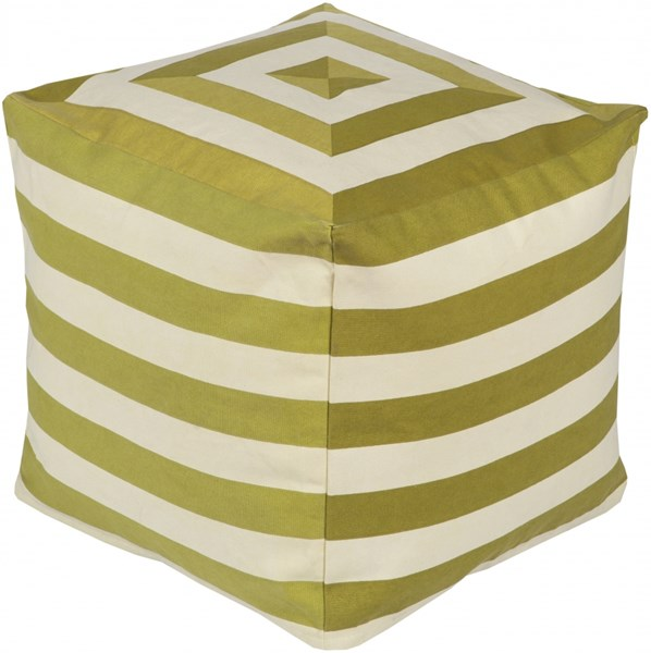 Playhouse Beige Lime Olive Cotton Pouf - 18x18x18 PHPF004-181818