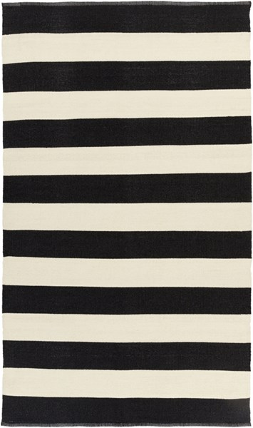 Picnic Contemporary Black Ivory PVC Hand Woven Area Rug PIC4005-58