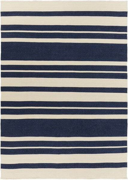Picnic Contemporary Navy Ivory PVC Striped Area Rug PIC4007-811