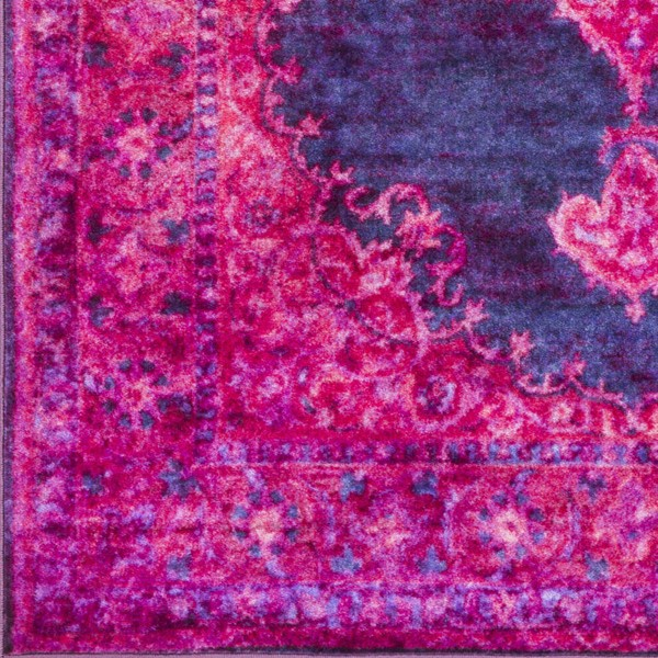 Surya Parker Bright Pink Dark Purple Navy Nylon Sample Area Rug - 18x18 PKR2302-1616