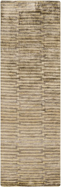 Platinum Olive Gold Light Gray Viscose Runner - 30 x 96 PLAT9002-268