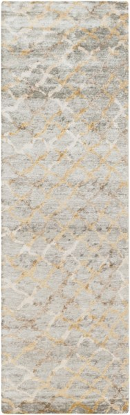 Surya Platinum Medium Gray Khaki Ivory Viscose Runner - 96x30 PLAT9018-268