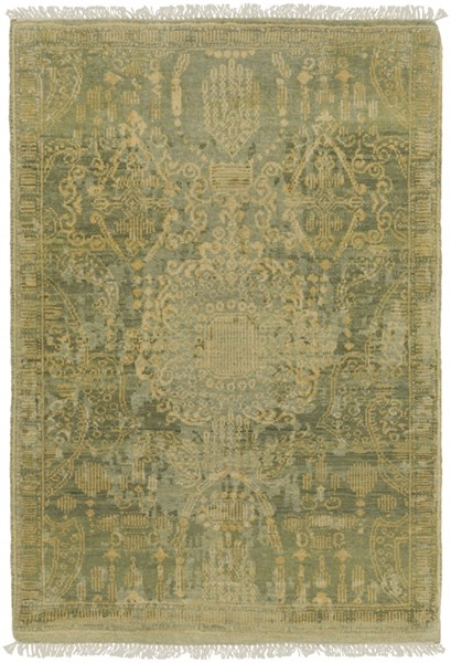 Palace Contemporary Olive Lime Moss Wool Area Rug (L 36 X W 24) PLC1000-23