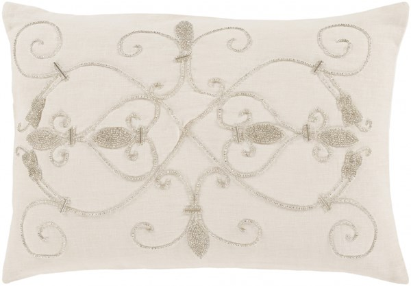 Pauline Glam Ivory Gray Fabric Down Lumbar Pillow PN001-1319D