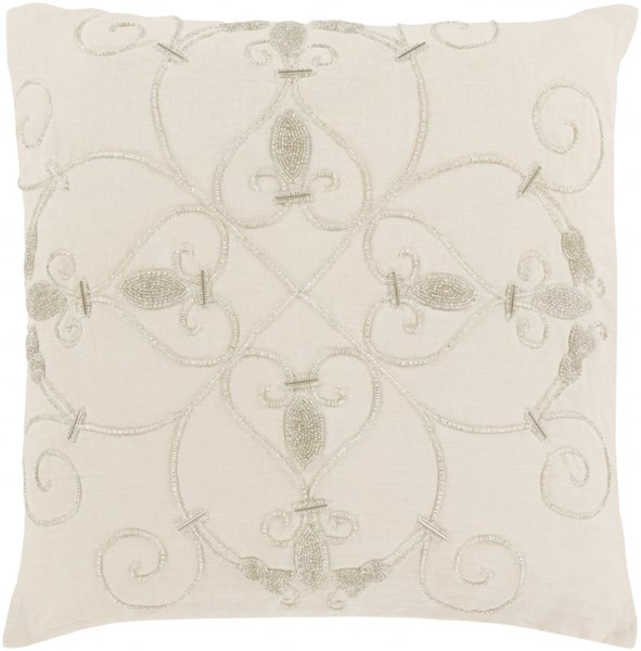 Pauline Pillow with Poly Fill in Ivory - 20 x 20 x 5 PN001-2020P