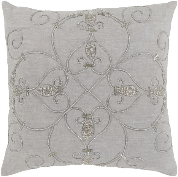 Pauline Pillow with Poly Fill in Gray - 20 x 20 x 5 PN002-2020P