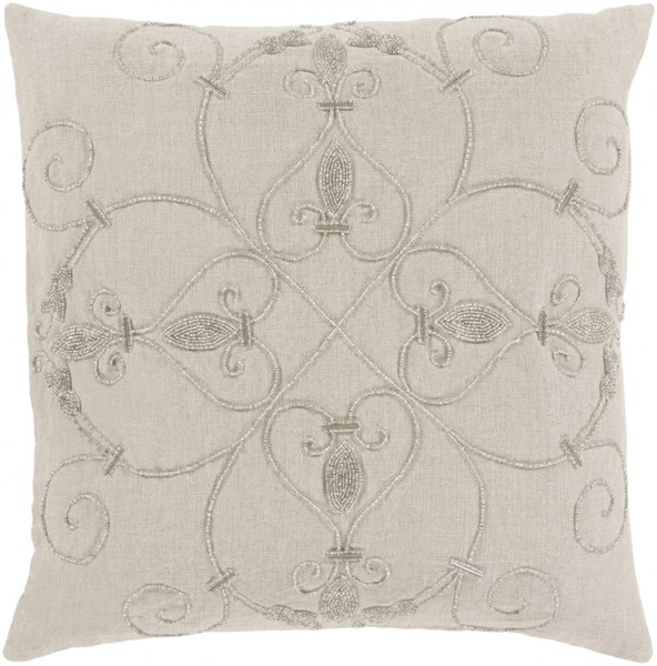Pauline Pillow with Poly Fill in Light Gray - 20 x 20 x 5 PN003-2020P