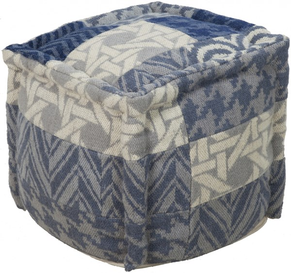 Surya Contemporary Navy Beige Gray Fabric Poufs 13973-VAR1
