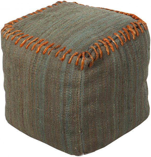 Surya Poufs Moss Burnt Orange Jute Pouf - 18x18x18 POUF-187