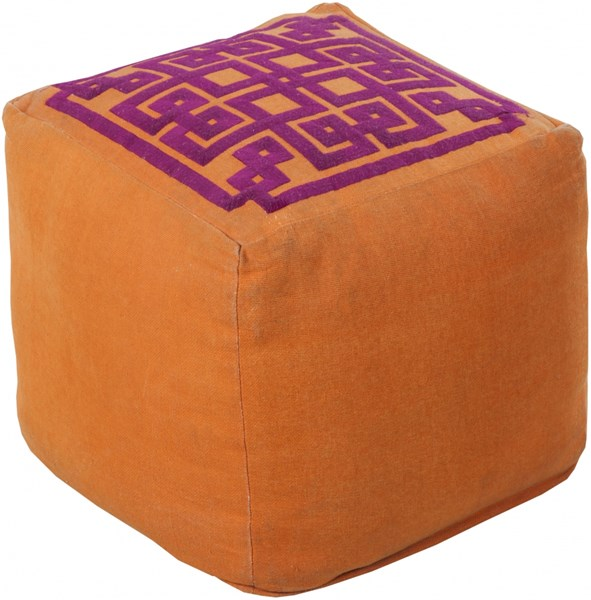 Surya Poufs Burnt Orange Eggplant Linen Others Pouf - 18x18x18 POUF-197