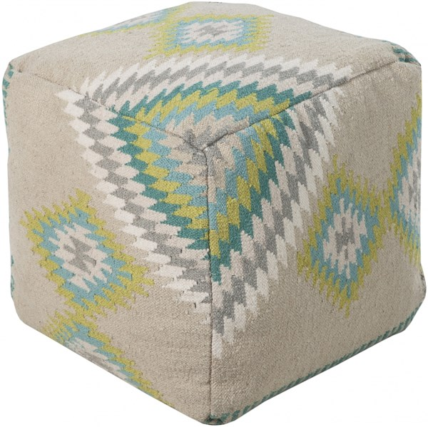 Surya Poufs Beige Lime Light Gray Fabric Poufs 14002-VAR1