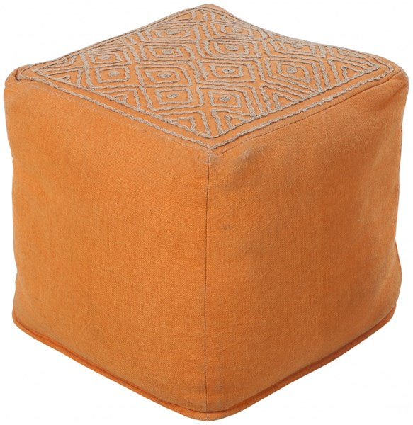 Surya Poufs Burnt Orange Taupe Linen Others Pouf - 18x18x18 POUF-205