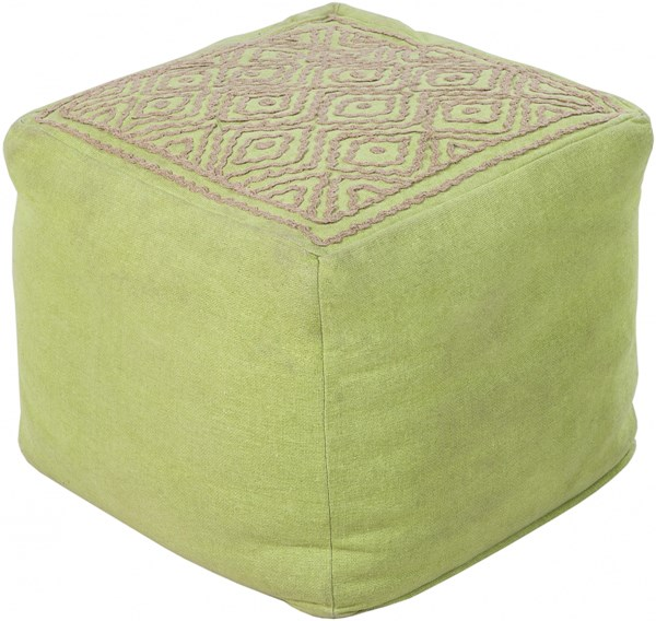 Surya Poufs Lime Taupe Linen Others Pouf - 18x18x18 POUF-208