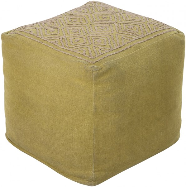 Surya Contemporary Lime Taupe Fabric Pouf (L 18 X W 18 X H 18) POUF-211