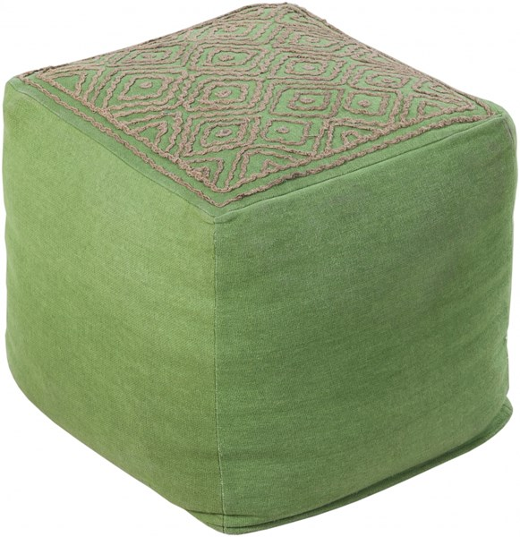 Surya Poufs Forest Taupe Linen Others Pouf - 18x18x18 POUF-212