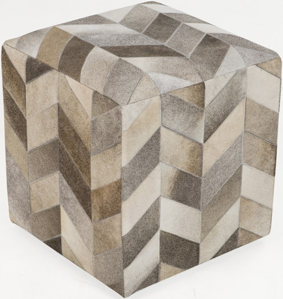 Surya Poufs Ivory Mocha Light Gray Leather Pouf - 18x18x18 POUF-242