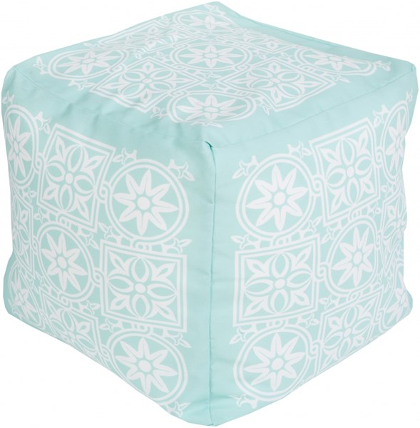 Surya Contemporary Mint Ivory Polyester Cushion Poufs 14019-VAR1