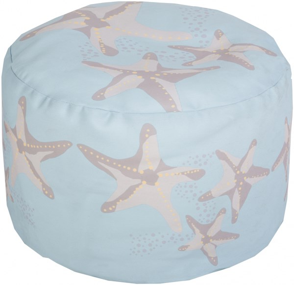 Surya Poufs Sky Blue Light Gray Peach Polyester Pouf - 20x20x13 POUF-266