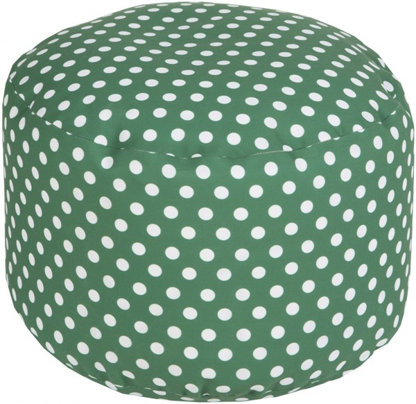 Surya Contemporary Emerald Kelly Green Ivory Polyester Poufs 14033-VAR1