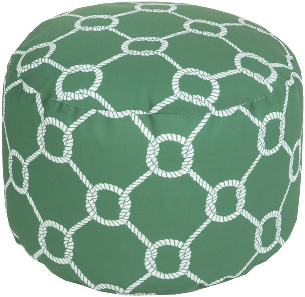 Surya Emerald Kelly Green Ivory Polyester Poufs 14034-VAR1