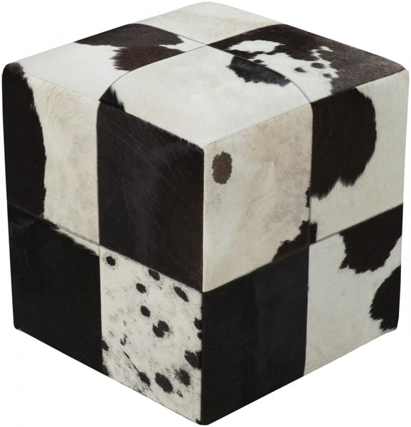 Surya Poufs Black Ivory Beige Leather Pouf - 18x18x18 POUF-56